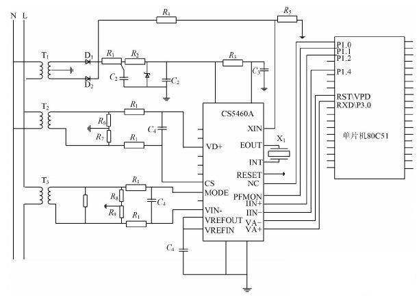 cs5460a与单片机80c51的连接电路图见图2