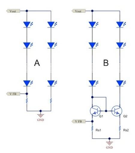 图1.电流镜(b)可针对简单电阻器电流调节(a)提供各种优势
