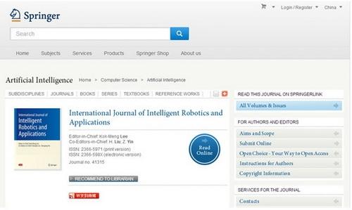 《智能机器人与应用国际期刊》登陆施普林格