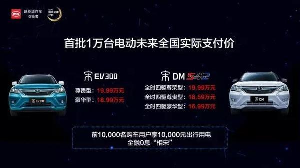 比亚迪宋DM/宋EV300上市 17.99万起售