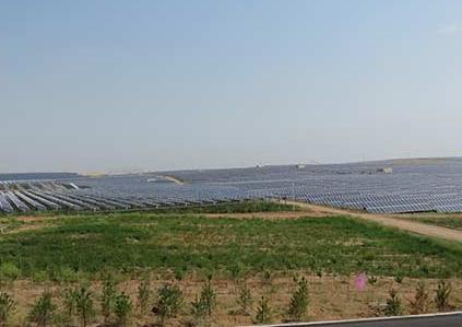 库布齐沙漠焕发生机 复合生态太阳能治沙初见成效