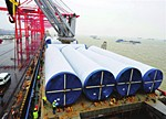 153米高风电塔筒太仓港启运出口