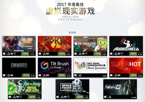 这些2017年Steam上最畅销VR游戏 你买了哪几个?