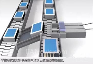 用传感器探测活塞上的磁块从而监控活塞位置