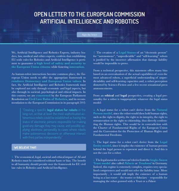 156位AI专家联名声讨 反对欧盟赋予机器人人格权