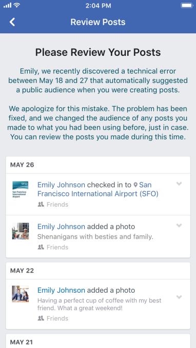 Facebook被曝系统漏洞,1400万用户私密朋友圈竟被公开