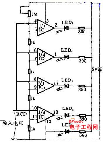 发光二极管电压测量电路图